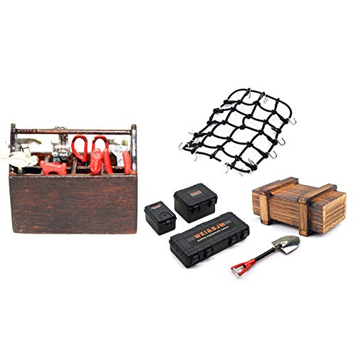 Timagebreze 1set Repair Toolbox for 1/10 Axial SCX10 C01 D90 TF2 & 6PCS Simulated Suitcase Luggage Net Shovel