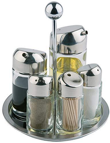 APS Menage, Essig- und Öl Set, Tischgestell für Salz, Pfeffer, Essig, Öl, Zahnstocher, drehbares Gestell, Glasbehälter mit Edelstahl-Deckel und Drehverschluss, 16 x 16 cm, 20 cm Höhe