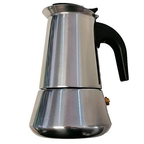 OCEANO Caffettiera Induzione 2 Tazze -Caffettiera Espresso-Moka-in Acciaio Inox con Il Manico e Il Pomelo Nero (2 Tazze Inox)