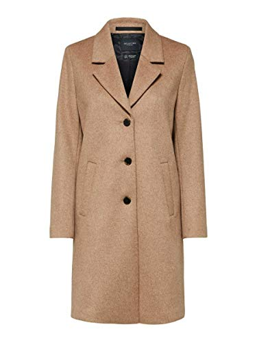 SELECTED FEMME Damen Slfsasja Wool Coat B Noos Mantel, Beige(AmphoraMelange), 42