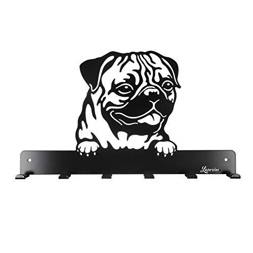Laperino Schicke und praktische Hundegarderobe * Mops * im Hundedesign XL 450mm Breit-Leinenhalter