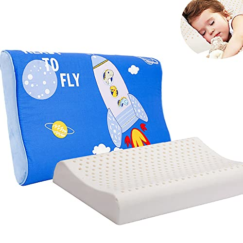 Child Pillows for Sleeping, 17X10X2.3 inch Toddler Pillow with Pillowcase, Natural Latex Kids Pillows Organic Cotton Cover, Soft, Breathable Bed Pillow, Washable Zippered Soft Cover (Blue)