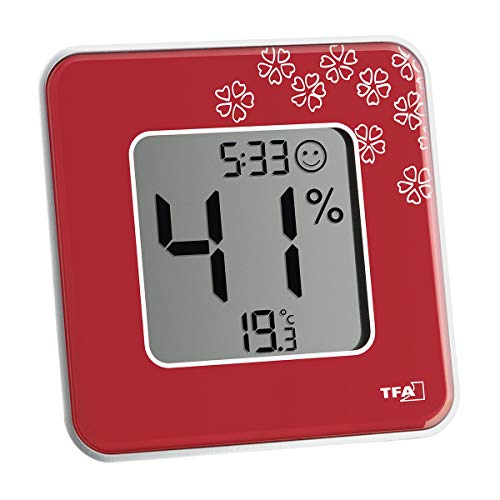 TFA-Dostmann Style Thermo-hygromètre numérique 30.5041.05-Température intérieure-Humidité-Zones de Confort-pour Un Climat intérieur sain, Rouge/Motifs Floraux, (L) 105 x (B) 14 (41) x (H) 105 mm