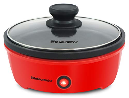 Elite Gourmet EGL-6101 Personal Stir Fry Griddle Pan, Rapid Heat Up, 650 Watts PFOA-Free Non-Stick Electric Skillet with Tempered Glass Lid, 8.5', Red