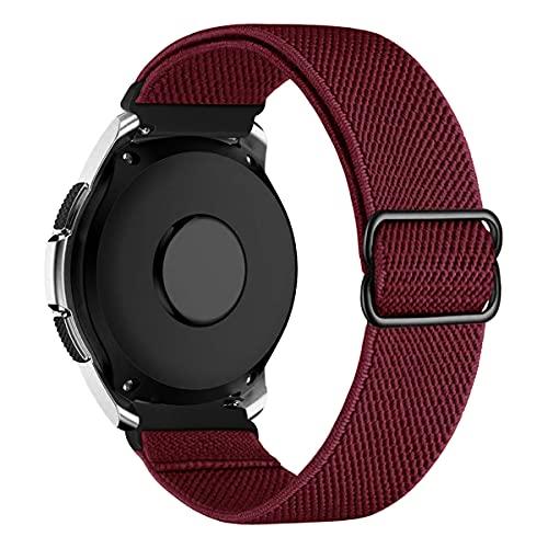 MroTech Compatible con Samsung Galaxy Active/Active2 40mm/44mm/Galaxy Watch 3 41mm/Galaxy 42mm Correa Nailon elástico 20mm Pulseras Repuesto para Huawei GT 2 42 mm Banda Nylon Woven Band-Rojo Oscuro