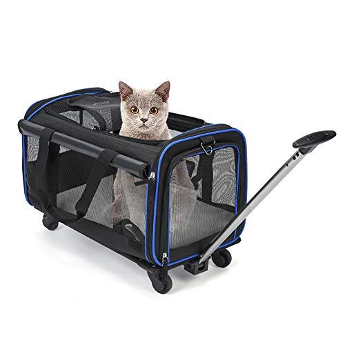 Atyhao Transportín para Mascotas con Ruedas Desmontables, Bolsa de Viaje Plegable Plegable...