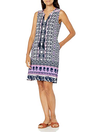 Tribal Women's SLVLESS Dress W/PKTS & Tassels, Lavender, XL