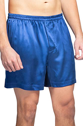 Fishers Finery Men's 100% Pure Mulberry Silk Boxers - Redesigned Waist (Blue,...