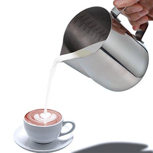 Blufied 600ml/20oz Milchkännchen rostfreiem Edelstahl Milchkanne Milch Pitcher für Barista Cappuccino Espresso Kaffee Cafe Latte Art