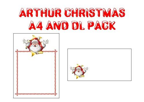 Papier et enveloppes de Noël – Arthur/de Noël Père Noël Liste/père Motif de Noël – Lot de papier à lettre sur le thème Seasonal (10)