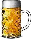 German Beer Stein Glass 2 Pint   Classic Beer Tankards, Beer Mugs, Beer Steins   2 Pint Glass Beer Tankards by Chabrias Ltd