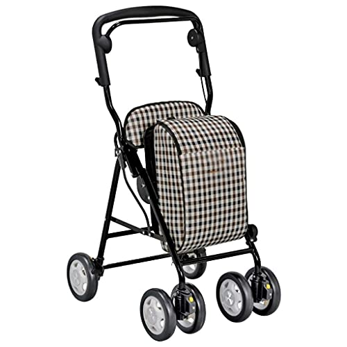 MIEMIE Shopping Cart With Seat,Foldable Shopping Cart, Steel Folding Four Wheels,Padded Seat Carrying Basket,Adjustable Armrest Lightweight