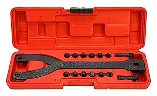 Llave de herramientas de mano llave llave inglesa de clavija, llave inglesa de pin variable, llave de soporte de impulsor de impulsor de 15 piezas de 15 piezas, removedor de puller de polea, viene con