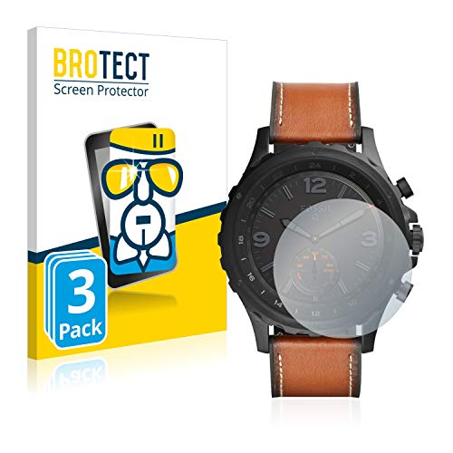 BROTECT Panzerglas Schutzfolie kompatibel mit Fossil Q Nate (3 Stück) - AirGlass, extrem Kratzfest, Anti-Fingerprint, Ultra-transparent