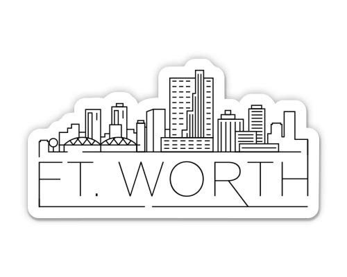 Squiddy Fort Worth Texas City Skyline - Vinyl Sticker Decal for Phone, Laptop, Water Bottle (3' Wide)