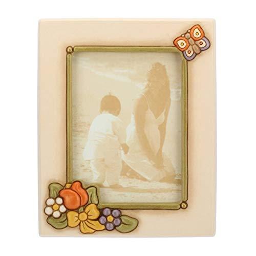 THUN - Portafoto Grande con Farfalla e Fiori - Accessori per la Casa - Linea Country - Ceramica - Formato Foto 13x18 cm