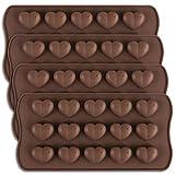 homEdge Molde de chocolate con forma de corazón con hoyuelos de 15 cavidades, molde de silicona con forma de corazón de San Valentín y caramelo