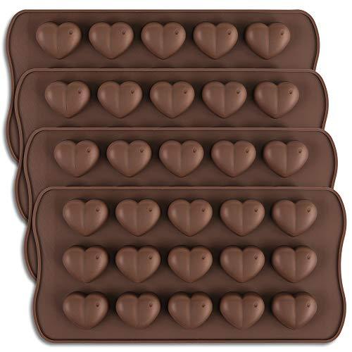 homEdge - Stampo per cioccolatini a forma di cuore con 15 cavità, in silicone, per San Valentino, adatto per cioccolato, dolci e caramelle