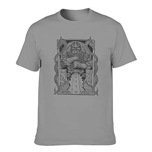 T-HGeschäft Camiseta de fitness para hombre, diseño vikingo Odin guerrero, dos dragones, impresión multicolor Gris oscuro. S