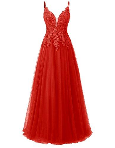 Carnivalprom Damen Spitze Abendkleider Für Hochzeit Elegant Brautkleid Spaghetti-Träger Ballkleider(Rot,34)