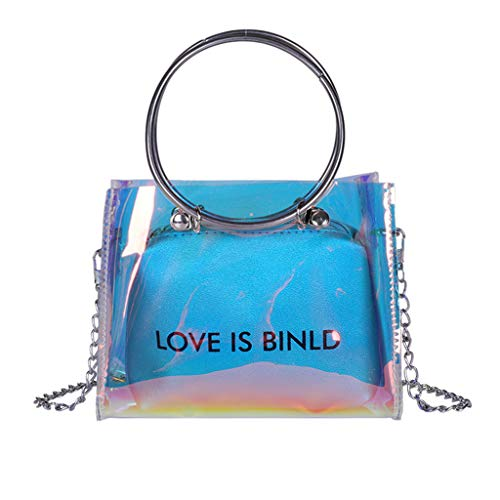 Find Discount Clear Bag Set Tote and Pouch Combo Holographic Glitter PVC Cross Body Bag Transparent ...