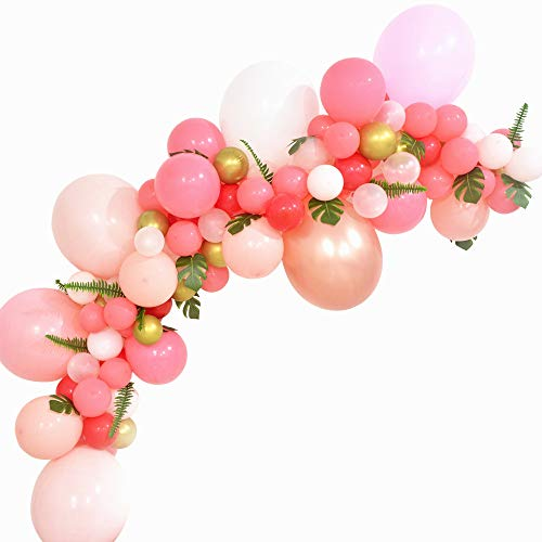 Balloon Garland Kit Pink Red Rose Gold Balloon Arch 118pcs Tropical Flamingo Party Wedding Bridal Shower Birthday Party Decoration