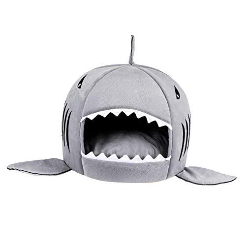 Baoblaze Casa del Animal doméstico del tiburón Perro Gato Cerdo Conejo Chinchilla Erizo pequeño Animal Cama paño Grueso y Suave cojín Cueva Perrera Almohadilla - Grey L