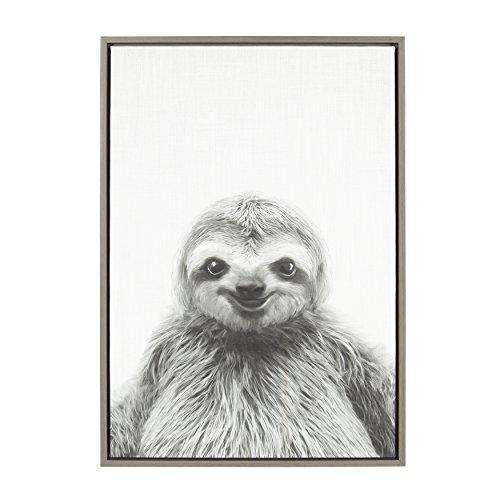 Kate and Laurel Sylvie Animal Print Sloth Black and White Portrait Framed Canvas Wall Art by Simon Te Tai, 23x33 Gray