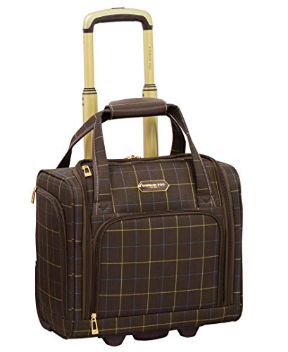London Fog Brentwood Softside Expandable Luggage with Dual Spinner Wheels, Chocolate Window Pane, Underseat 15-Inch