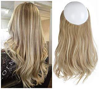 SARLA Ash Blonde Balayage Natural Blonde Halo Secret Hairpiece