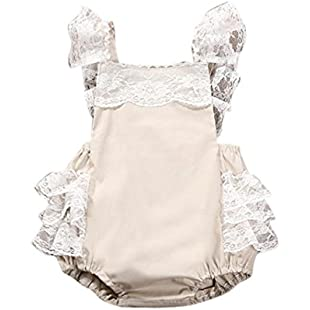 Customer reviews Oyedens Baby Girls Lovely Ruffle Lace Collar Bodysuit Romper Outfits (3-6Months)
