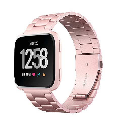Hianjoo Strap Compatible with Fit Bit VersaVersa LiteVersa 2 Solid Stainless Steel Metal Wristband with Durable Folding Clasp Replacement for Fit Bit VersaVersa LiteVersa 2 Rose Pink