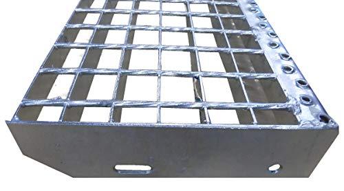 Treppenstufe Trittstufen Metalltreppe Gitterroststufen feuerverzinkt/Tiefe 24cm Breite 80cm / Maschenweite: 30/30 mm/Ideal für den Einsatz im Innen und Außenbereich