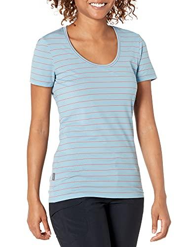 Icebreaker Merino Women's Tech Lite Short Sleeve Scoop Neck T-Shirt, Waterfall/Poppy Red Stripe, X-Small