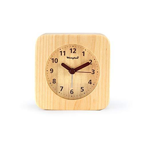 YANGWEI Cáscara De Madera Estudiante Moda Protección del Medio Ambiente Mudo 3 Pulgadas Sonando Reloj Despertador Estudiante De Moda Dormitorio Reloj Despertador Cuadrado