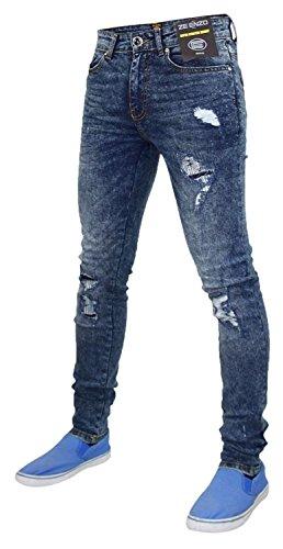 Enzo Heren Ripped Jeans Super Skinny Broek Stretch Denim Broek