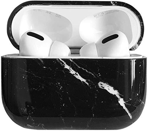 Airpods Pro 保護ケース 大理石スタイル フルカバー 充電口付き 完璧にフィット PC製ハードケース (Black Airpods Pro)