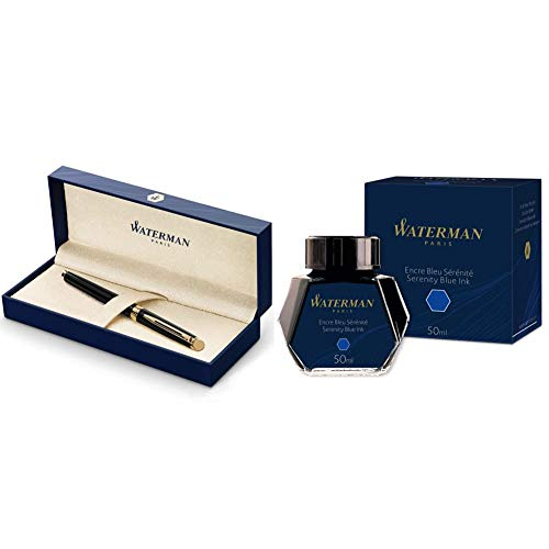 Waterman Hemisphere - Pluma estilográfica + Waterman 723574 - Bote de tinta (50 ml), azul