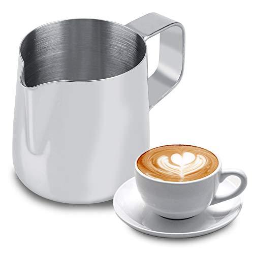【????? ?????? ?????】 Milchschaumbecher, Edelstahl Milchschaumbecher Kaffeekanne Krug Latte Art Restaurant Küchenbedarf Edelstahl Milchkrug(200ml)