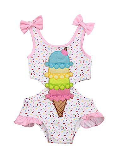 Infant Toddler Baby Girl Swimsuit Halter Sleeveless Ice-Cream Ruffle One Piece Onesie Bathing Suit Summer Clothes Outfit (White, 2-3 Years)