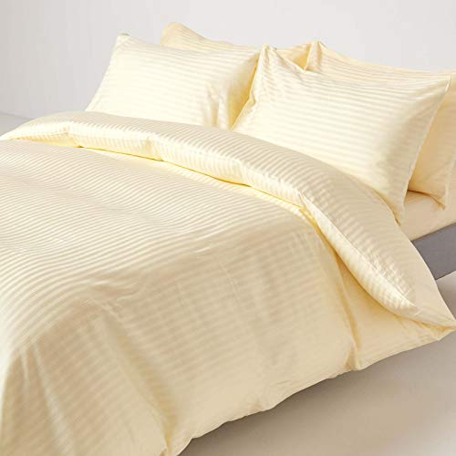 HOMESCAPES Pastel Yellow Pure Egyptian Cotton Duvet Cover Set Super King 330 TC 500 Thread Count Equivalent Satin Stripe Quilt Cover 2 Pillowcases Included Bedding Set