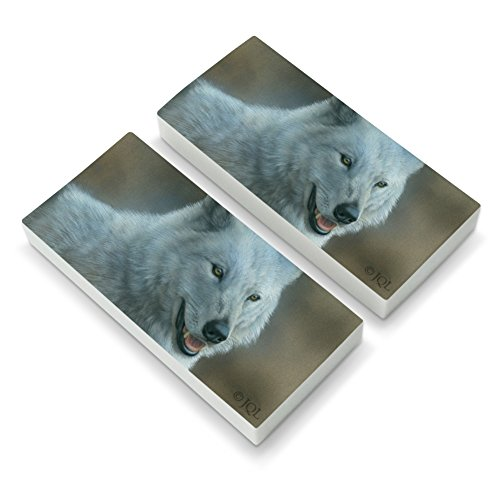 White Wolf Growling Eraser Set of 2