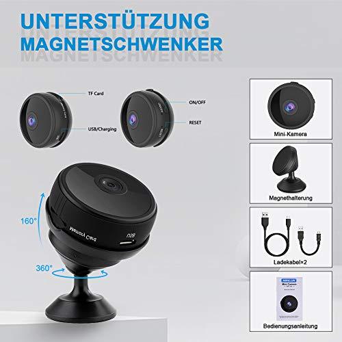 Mini WLAN Kamera Überwachungskamera Wireless Full HD 1080P mit 6 Infrarot-Licht Nachtsicht Bewegungserkennung App Fernbedienung 150° Weitwinkel