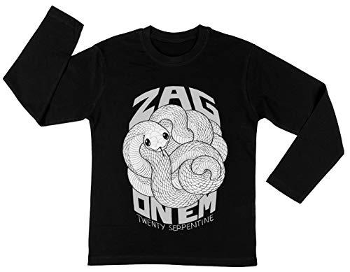 Zag On Em Mono Unisex Kinder Jongens Meisjes Lange Mouwen T-shirt Zwart Unisex Kids Boys Girls's Long Sleeves T-Shirt Black
