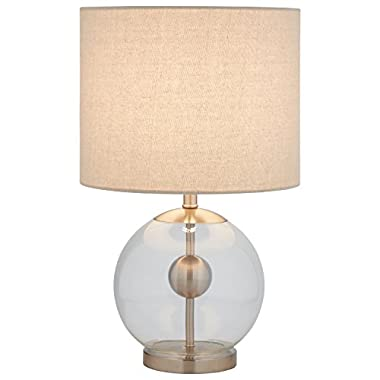 Stone & Beam Pearl Modern Glass Orb Lamp, with Bulb, Linen Shade, 19.5  x 11.5  x 11.5 , Silver