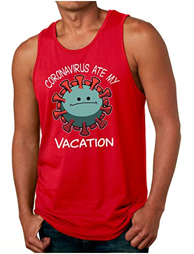 HARD EDGE DESIGN Men's The Virus Ate My Vacation Tank Top, Small, Red