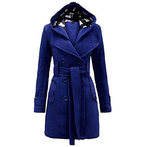 OKJI nieuwe dames capuchon jas slank dubbel borst riem capuchon herfst winter wollen mix casual effen kleur jas dames warme jas