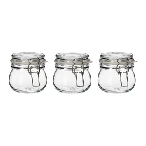 IKEA KORKEN ふた付き容器 クリアガラス 3ピースセット 可愛らしい手のひらサイズ