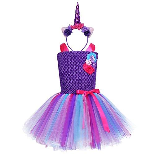 YiZYiF Disfraz Unicornio Niñas Vestido Fiesta Tutú Disfraz Princesa Hada Vestido Unicornios con Diadema Traje Actuación Boda Regalo Cumpleaños 2-12 Años Morado 8-10 Años