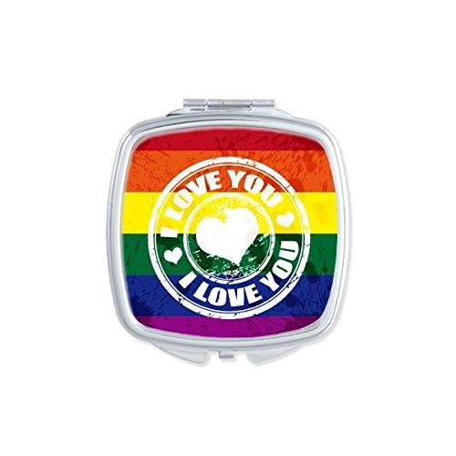 Love LGBT Rainbow - Espejo de bolsillo cuadrado compacto para maquillaje